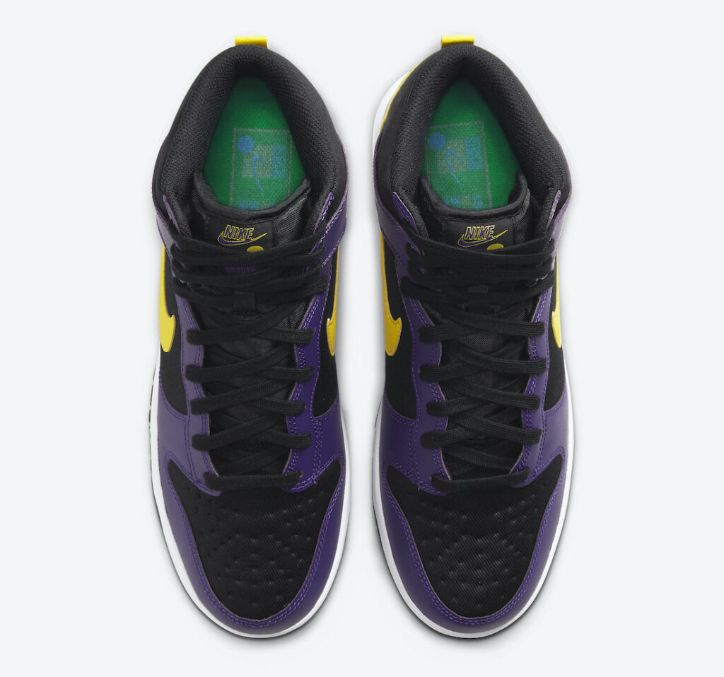 Nike Dunk High EMB Lakers DH0642-001 Release Date